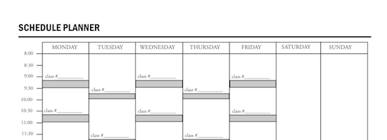 Course Calendar Utm Planner : Class schedule